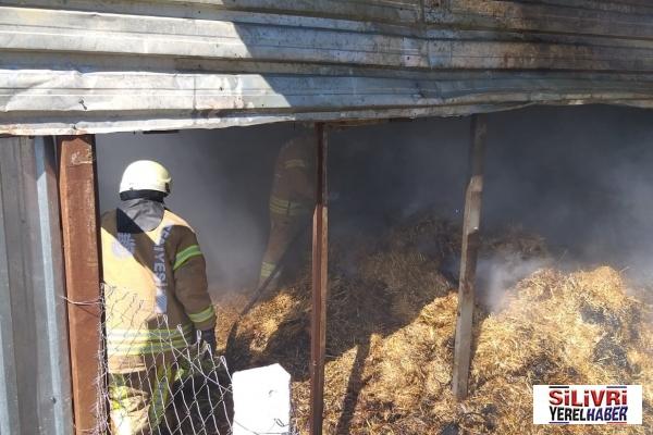 Çatalca'da samanlık yangını