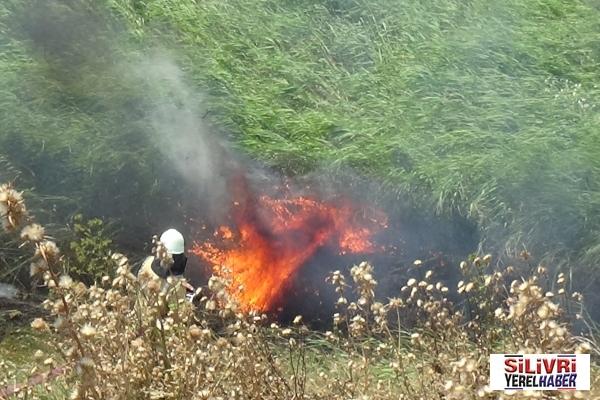 Silivri'de baraka ve buğday tarlası yangını