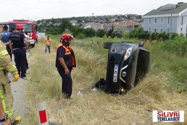 Silivri'de Hafriyat Kamyonu ile Özel otomobil çarpıştı