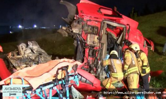 TEM'de TIR kamyona arkadan çarptı: 1 ölü, 1 yaralı