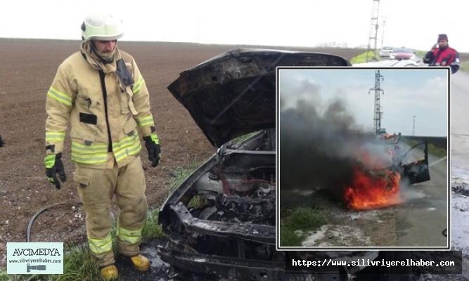 Hayvanlara Yem Veren Kişinin Otomobili Alevlere Teslim Oldu