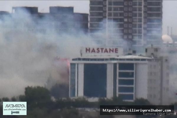 Silivri'de Hastane Yanında Korkutan Yangın