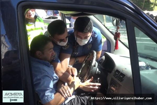 Silivri'de Aracının Çekilmesini İstemeyen Sürücü Polise Zor Anlar Yaşattı