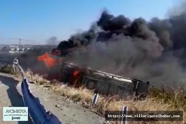 SİLİVRİ'de tanker alevlere teslim oldu