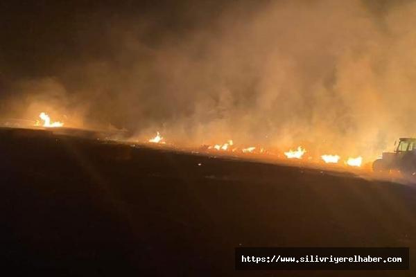 Silivri'de kırsal alanda yangın meydana geldi