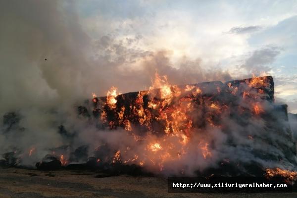 Silivri'de Yıldırım Düştü Binlerce Samanlık Alev Alev Yandı